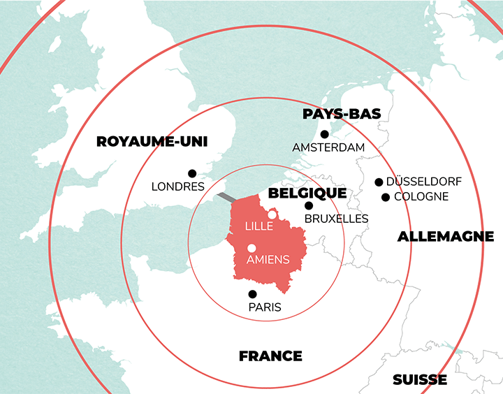 Carte du rayonnement des Hauts-de-France